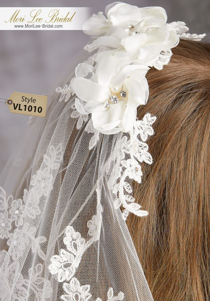 Style VL1010Lace and Floral Comb, Stitched Edge Veil with Cascade of Lace Beaded with Sequins and RhinestonesAvailable in Fingertip Length (VL1010F) Shown, or Cathedral Length (VL1010C). Colors: White, Ivory.