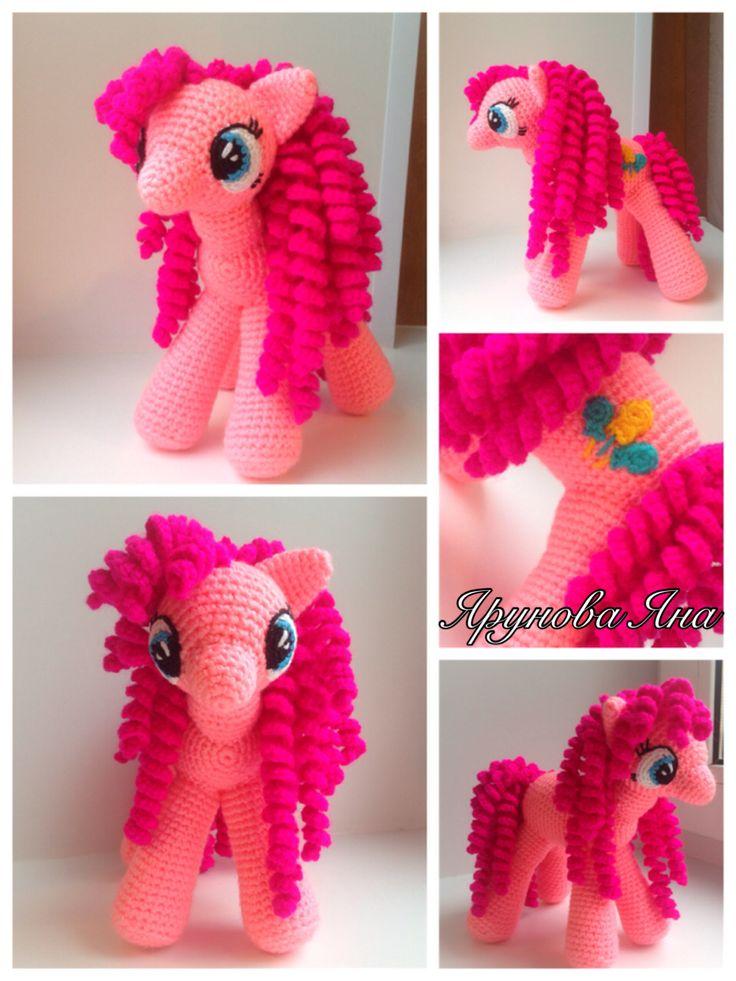 Розовая пони Пинки Пай))) милая, кудрявая, яркая, очень дружелюбная Ростик пони 18 см
