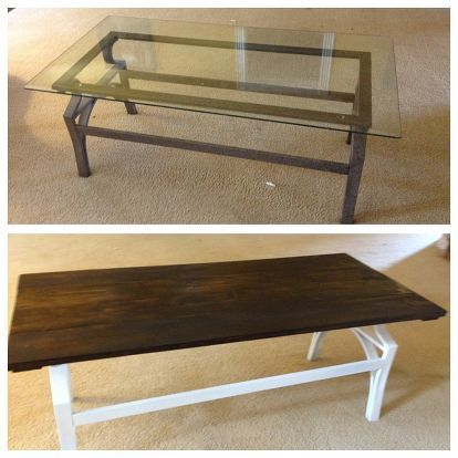 Coffee Table Transformation Painted Furniture Shabby Chic Before And After