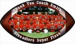 """Football Plaque. Football Shaped, 10.5"""" x 6.25"""" x .625"""" (5/8"""") with Black Beveled edges and two keyholes for easy wall mounting. Wooden football plaque makes a unique photo display. Perfect gift for football players, and football coaches. Comes in both Vertical or Horizontal great for a unique wall display or special award."""
