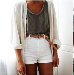 Fashion, White Shorts, Clothing, High Waisted Shorts, Simple Chic, Summer Outfits, My Style, Dreams Closets, High Waist Shorts