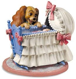 WDCC Disney Classics Lady And The Tramp Lady And Cradle Welcome Little Darling #WDCCDisneyClassics #Art. Lady says hello to the newest addition to the Darling family. This classic Disney scene is depicted for the first time in an all-new heartwarming sculpture. Retired 05/06.