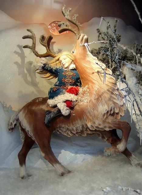 Fortnum & Mason Christmas window display Use my large metal deer  or bevs santa deers