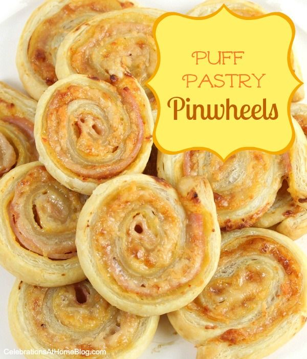 Ham & Cheese Puff Pastry Pinwheels  1 sheet frozen puff pastry dough, thawed according to package  4-5 slices baked ham sandwich meat  Shredded Parmesan cheese  Dijon OR Sweet Hot mustard {I use whichever I have on hand}