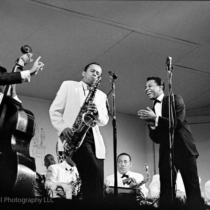 Duke Ellington with Paul Gonsalves photographed at The Monterey Jazz Festival in 1960