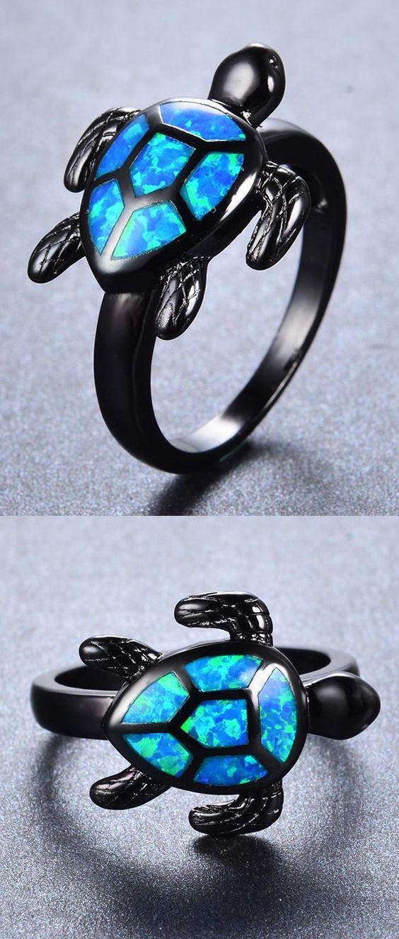 Blue Fire Opal Turtle Ring