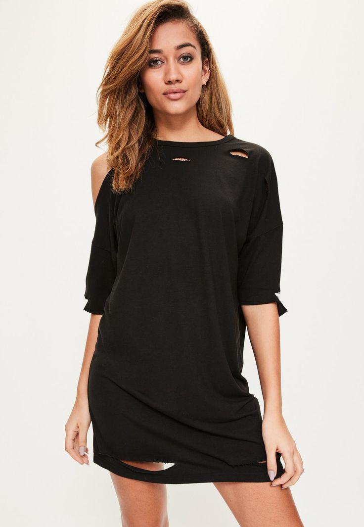 Missguided - Black One Shoulder Distressed T Shirt Dress
