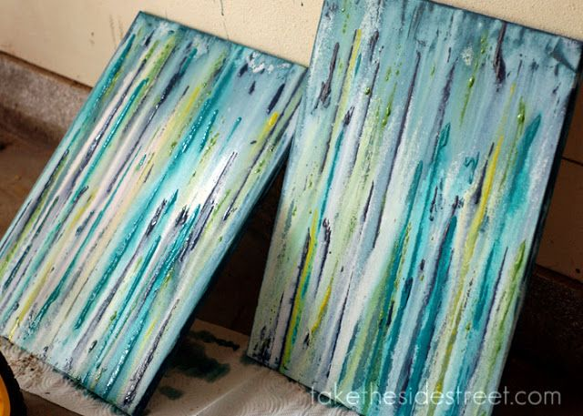 Take the Side Street: DIY Drip Painting love this idea for either a large canvas piece in living room or multiple medium sized canvases in dining room but with colors to match new paint!