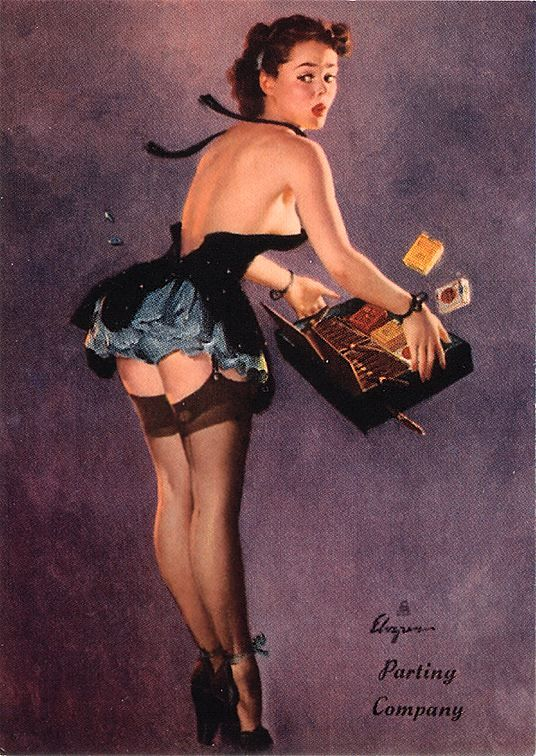 TITLE: Parting Company DATE: 1950 NOTES: Publisher: Brown & Bigelow. http://www.thepinupfiles.com/elvgren/ELVGREN_img_26.jpg