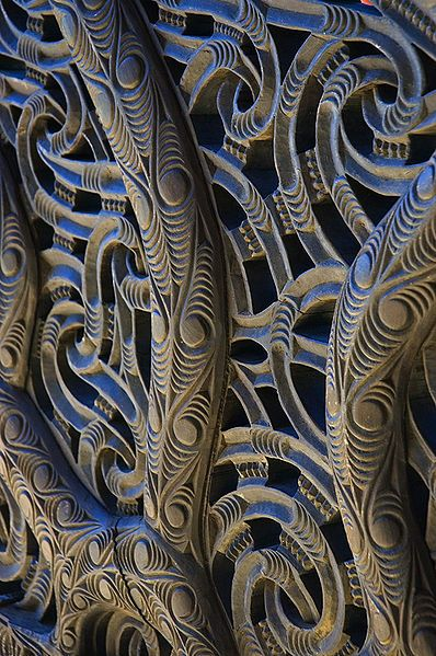 Detail of wood carving from the ceremonial  Maori wa.r canoe, Nagatokimatawhaorua