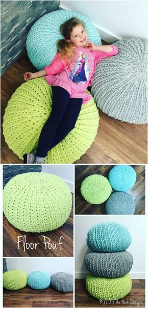 100 Free Crochet Pattern s that anyone can Make--Relaxing Floor Pouf