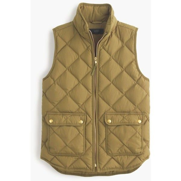 J.Crew Excursion Quilted Down Vest ($160) ❤ liked on Polyvore featuring outerwear, vests, jackets, petite, lightweight quilted vest, slim vest, brown quilted vest, j.crew vest and slim fit vest