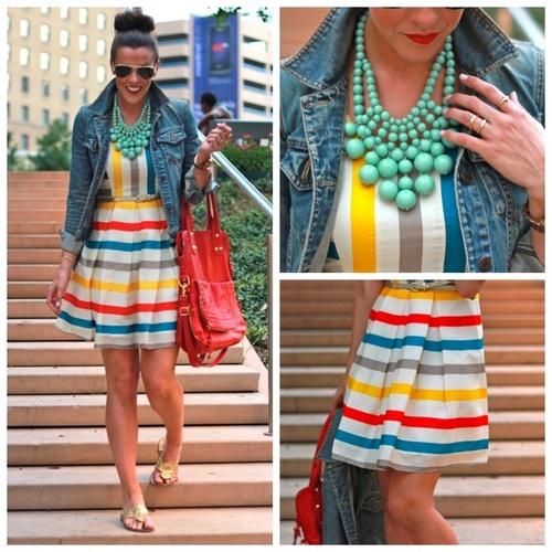 Cute summer dress, denim jacket and a bauble bar  necklace.