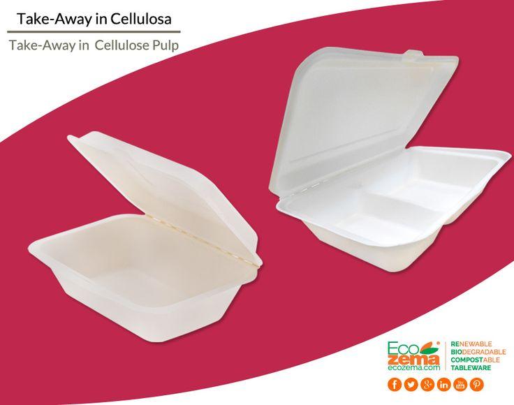 Biodegradable & Compostable take-away clamshell containers made from bleached Cellulose Pulp - Contenitori d'asporto biodegradabili e compostabili in polpa di cellulosa sbiancata