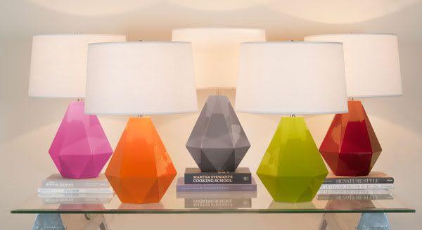 Colorful lamps: Ceramics Lamps, Decor Ideas, Geometric Lamps, Color, Gems Lamps, Decorating Ideas, Dreams House, Delta Tables, Tables Lamps
