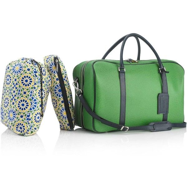 Mark Giusti - Al Hambra Weekend Bag Green ($1,780) ❤ liked on Polyvore featuring men's fashion, men's bags, mens leather weekender bag, mens leather bag, mens leather weekend bag, mens weekender bag and mens leather overnight bag