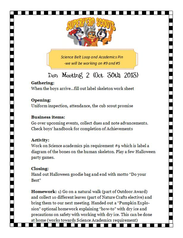 cub scout den meeting activities The den chief is a boy scout or a venturer who assists a cub scout den leader or webelos den leader with a cub scout or a webelos den  den meeting activities.