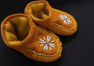 These cute little Moose Hide Moccasins will be heading to a new home!! So cute, warm toes this winter