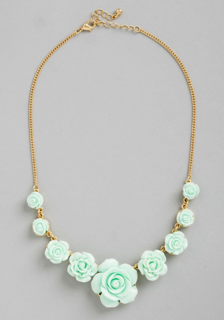 Bead of Roses Necklace in Mint. The livin is chic and easy when this rose-decked necklace gracefully accessorizes your elegant ensembles! #mint #wedding #modcloth