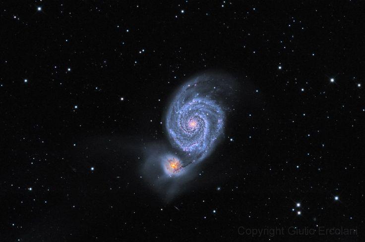 Галактика Водоворот (M51, Messier 51, NGC 5194) в созвездии Гончие псы / Whirlpool Galaxy in the constellation Canes Venatici