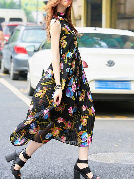 See-through Floral-print Chiffon Midi Dress