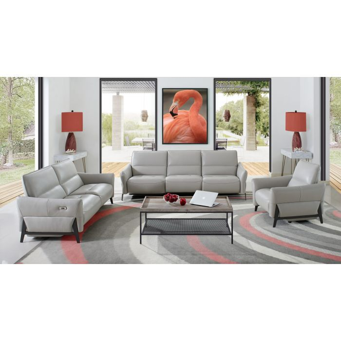 Silas Sofa In Light Gray Leather By Creative Furniture Leather