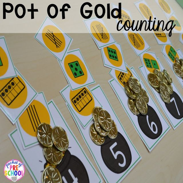 St. Patrick's Day counting activity to build one to one correspondence plus FREE ten frame shamrock cards for preschool, pre-k, and kindergarten. A fun way to practice counting.