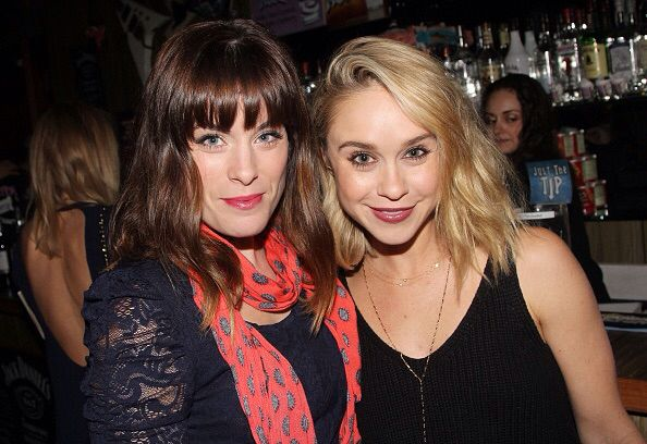 Becca Tobin and Katherine Tokarz at Rock of Ages's closing night on Broadway