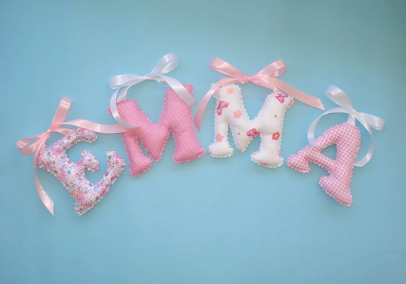 Shabby Chic pink fabric letters girl's room name wall