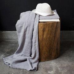 Drap plat en étamine de lin / Linen muslin flat sheet