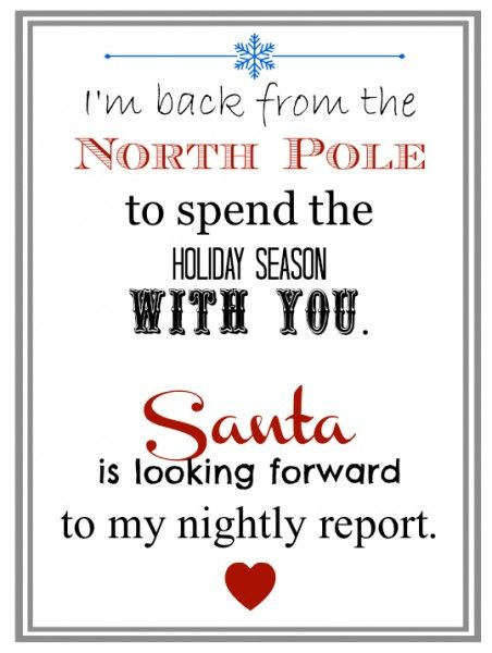 For next year...Elf Returns from the North Pole Letter. Perfect for an elf grand entrance!