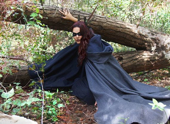 Wool Cloak wool hooded coat by SayodeArmas on Etsy