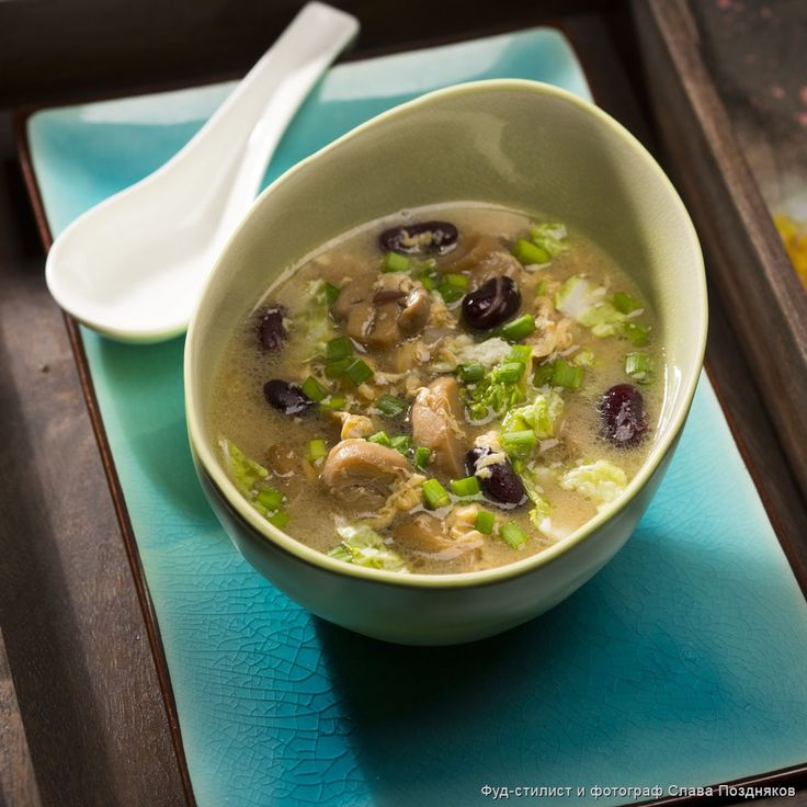 Рецепт - Китайский грибной суп  с красной фасолью и яйцом - с фото
