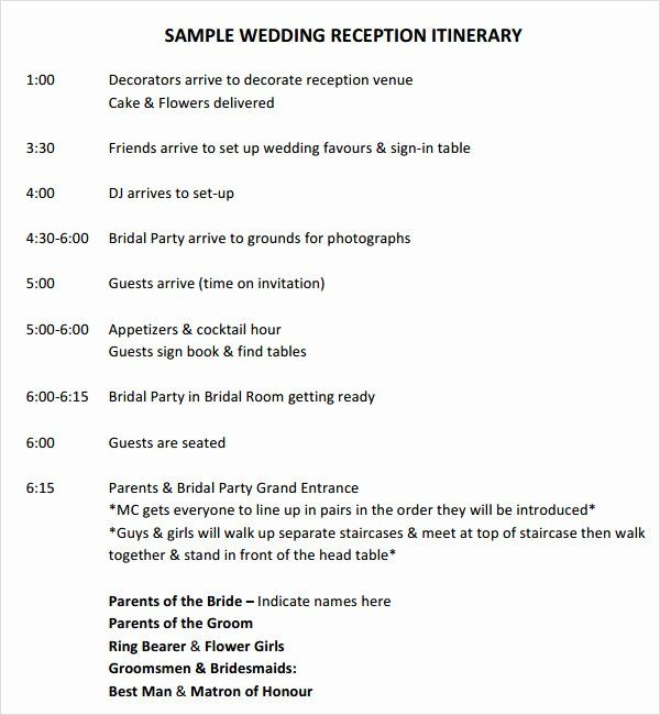 wedding reception timeline template inspirational free 5 sample time in 2020 planning day itinerary