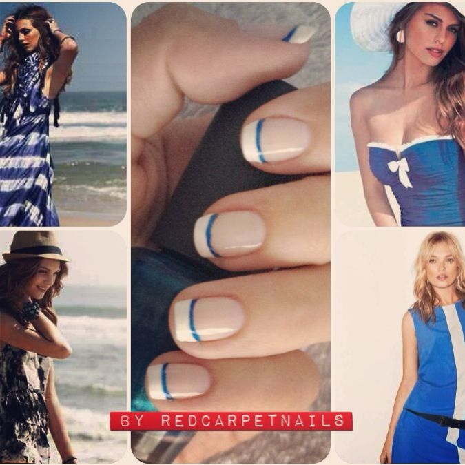 #holiday #summer #fashion #ontrendnails  #blueandwhite #stripe #nails #katemoss get these lovely beach ready blue and white french manicure nails by RedCarpetNails, book now 1redcarpetnails@gmail.com