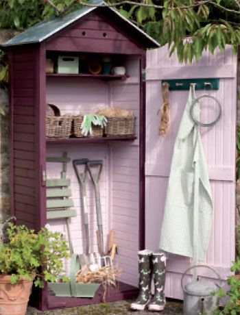 Tiny Garden Shed for small spaces. Paint it, or keep it ultra simple.