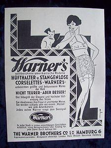 Warner's HÜFTHALTER u. STANGENLOSE CORSELETTES - 1929