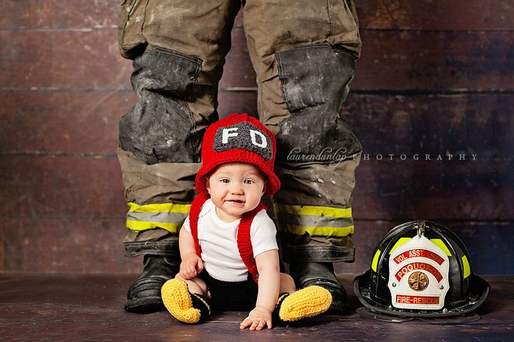 crochet fireman firefighter helmet hat customize newborn or toddler child. $22.00, via Etsy.
