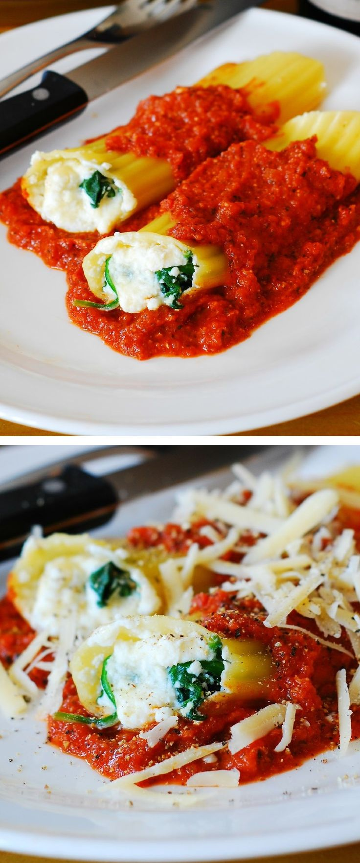 Stuffed manicotti pasta shells with ricotta cheese and spinach filling in a homemade tomato sauce | Italian pasta recipes (food), vegetarian & meatless recipes