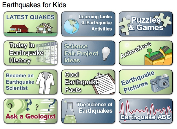 Earthquakes for kids. Many facts about earthquakes including pictures, causes, and the latest!