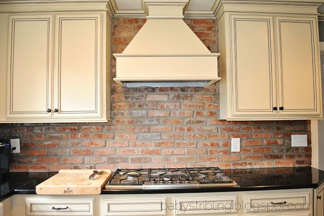 Brick backsplash kitchens pinterest cabinets wood for Kitchen units made of bricks