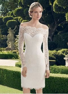 Sheath/Column Off-the-Shoulder Knee-Length Lace Wedding Dress With Appliques Lace