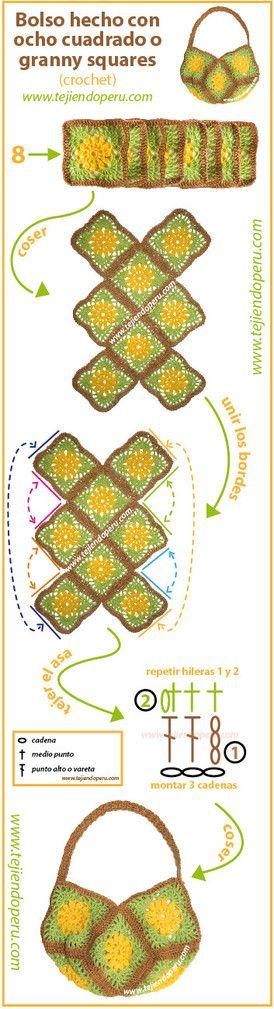 Paso a paso: cómo tejer un bolso con 8 cuadrados o granny squares tejidos a crochet!
