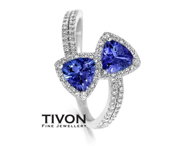 Angara Airline Set Three Stone Tanzanite Diamond Cathedral Ring in Platinum FfoPjW2t