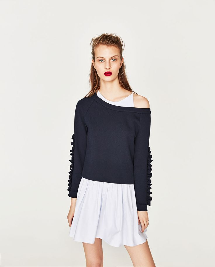 CONTRAST DRESS WITH FRILLED SLEEVES-DRESSES-WOMAN | ZARA United States
