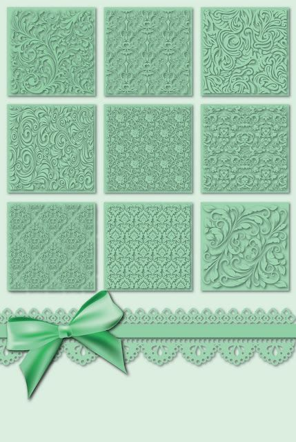 handmade card ... monochromatic pale green ... 3X3 gride of inchies with different embossing folder texttures ...
