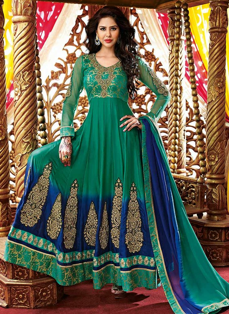 Green Satin ankle length anarkali suit