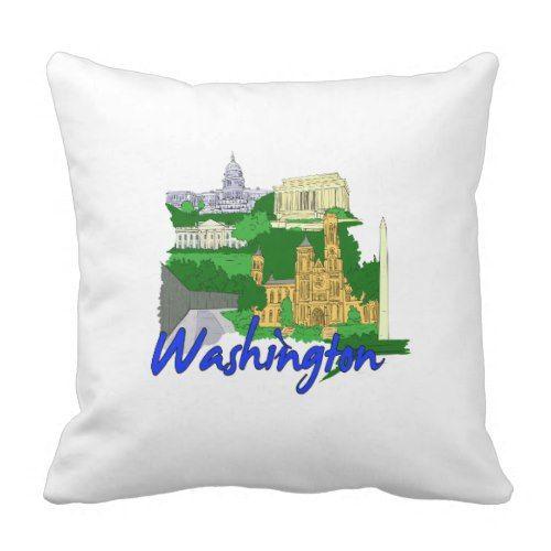 washington dc blue green america city travel vacat throw pillow