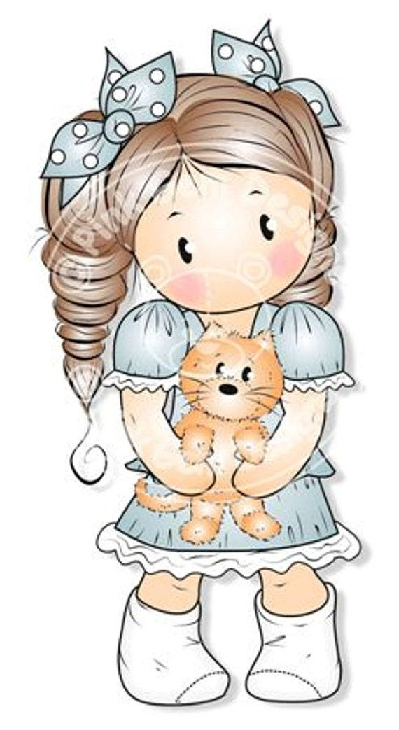 Digital Digi Stamp Chloe with Kitten  Girls by PinkGemDesigns