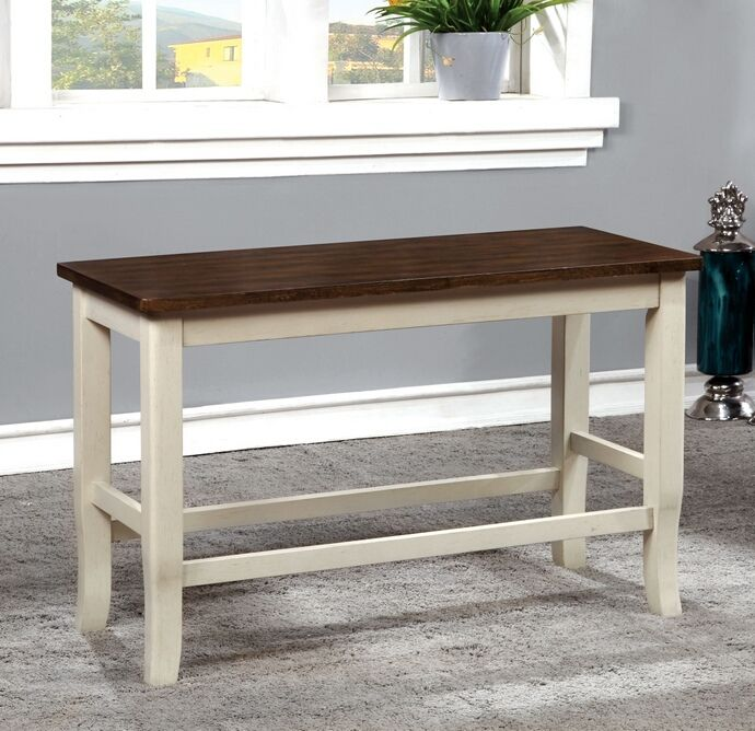 Dover Collection Two Tone White And Cherry Finish Wood Counter Height Dining Bench
